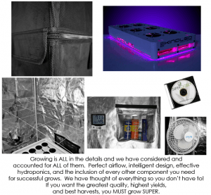 SuperRoom 2′ x 4′ LED hydroponic grow room - components 2
