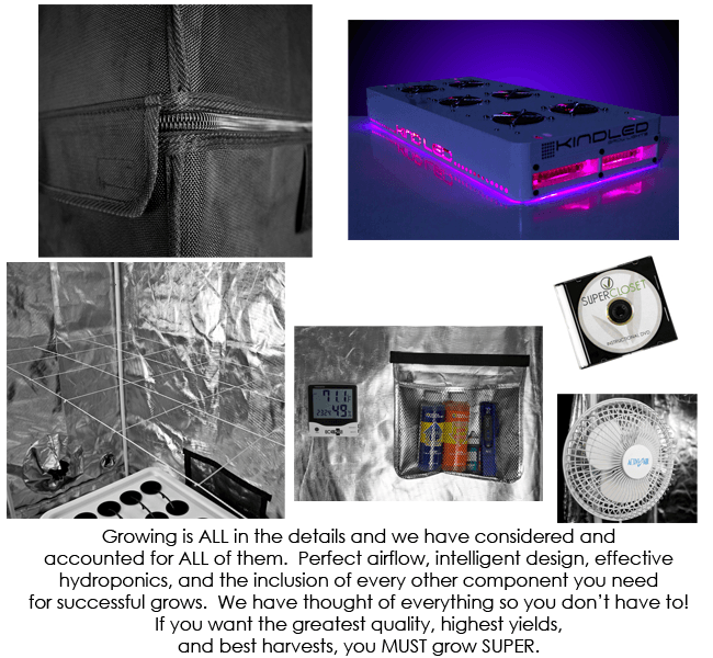 SuperRoom 2′ x 4′ LED grow room - components 2