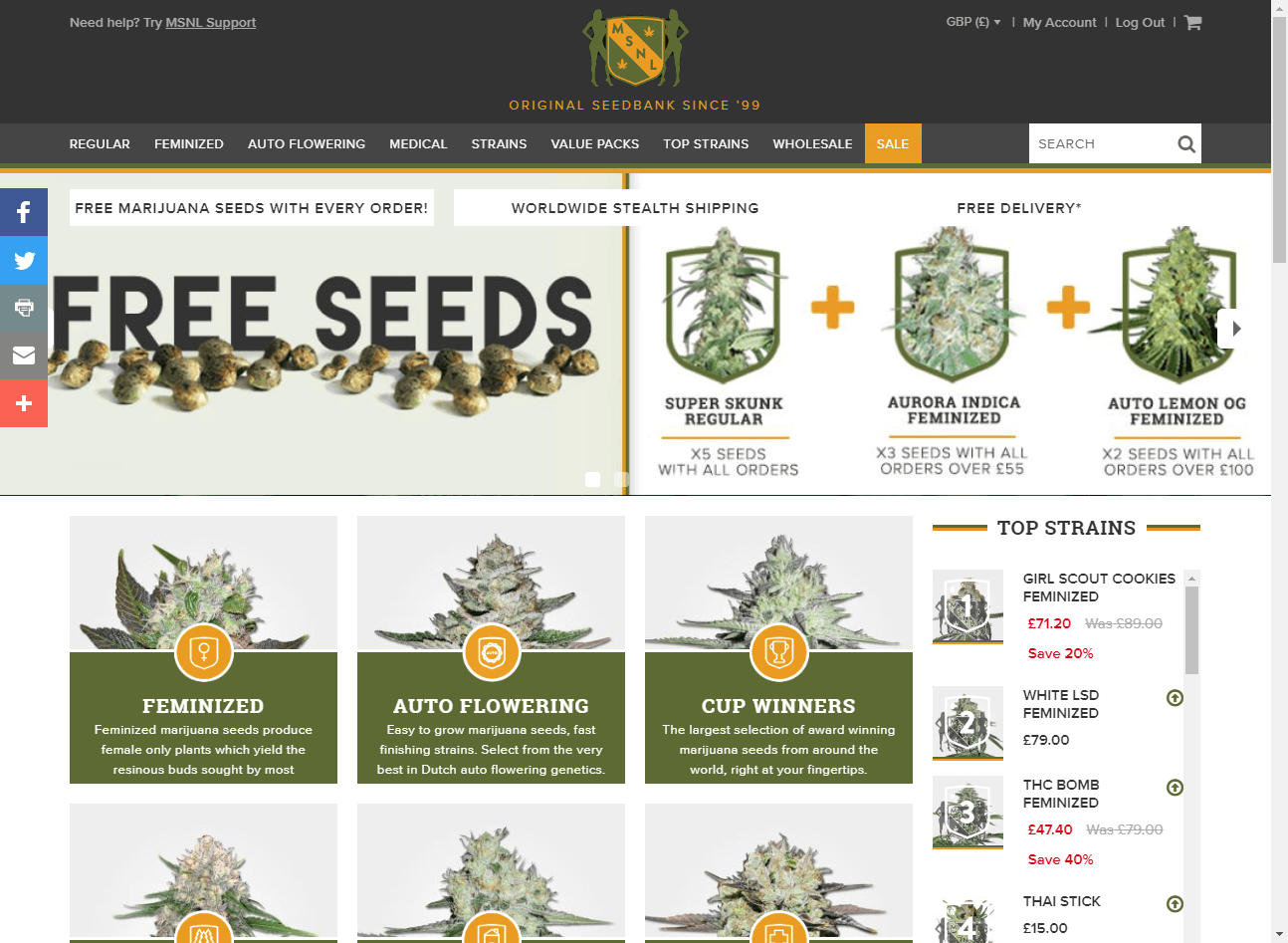 MSNL (Marijuana Seeds nl) website